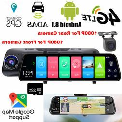 "10"" 4G LTE Android 8.1 Dash Cam 1080P GPS Navigation Car Mir"