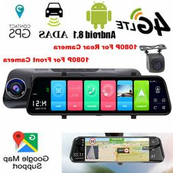 """10"""" 4G LTE Android 8.1 GPS Navigation 1080P Car Mirror Rear"""