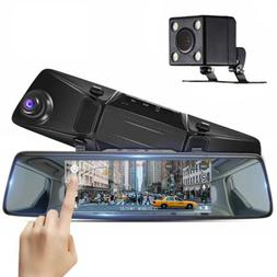 7'' TouchScreen 1080P Dual Lens Car DVR Rearview Mirror Came