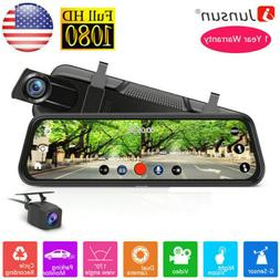 "10"" Junsun FHD 1080P Car DVR Rearview Mirror Dash Cam Dual"