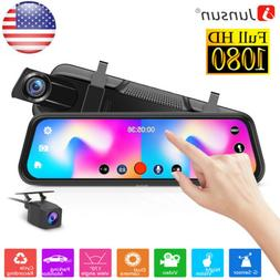 "10"" Junsun HD Car DVR Recorder Rearview Mirror Dash Cam Du"