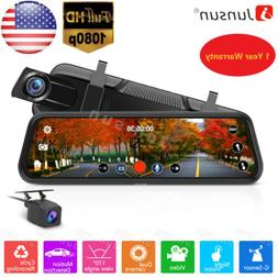 10'' Touch Screen Rear view Mirror 1080P Car DVR Dual Lens D