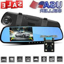1080P HD Dual Lens Car DVR LCD Mirror Camera Monitor Dash Ca
