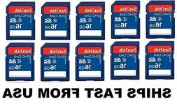 16gb sd flash memory cards 10 pack