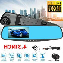 4.3'' 1080P Dual Lens Car Auto DVR Mirror Dash Cam Recorder+