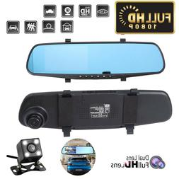 4.3'' HD 1080P Dual Lens DVR Mirror Dash Cam Recorder with C