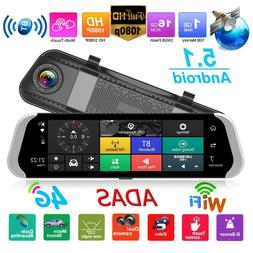 4G 1080P Car DVR Camera Android Rearview Mirror GPS WiFi ADA