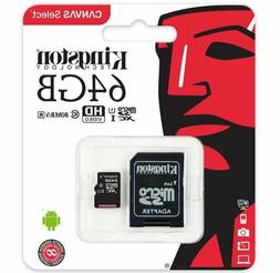 Kingston 64GB Micro SD SDXC 80MB/s Memory Card For YI 2.7K