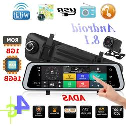 "9.66"" Bluetooth 4G Android 8.1 Car DVR Camera GPS 1080P Rear"