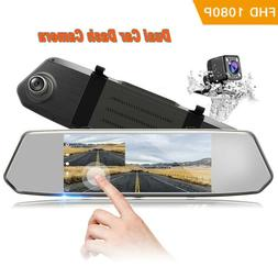"TOGUARD Backup Camera 7"" Mirror Dash Cam Touch Screen HD1080"