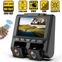 "4"" 1080P Dual Lens Touch Screen Car DVR Dash Cam Recorder Fr"