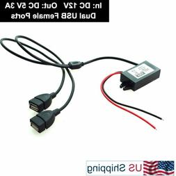 Car 12V to DC 5V 3A 15W Hard Wired Dual USB Charger for Dash