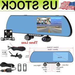 "Dash Cam Car DVR 5.0"" HD 1080P Rear View Mirror Three Camera"