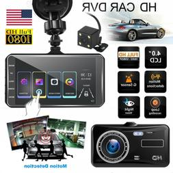 """4"""" In Car Camera Recorder Dual Front and Rear HD 1080P Dash"""