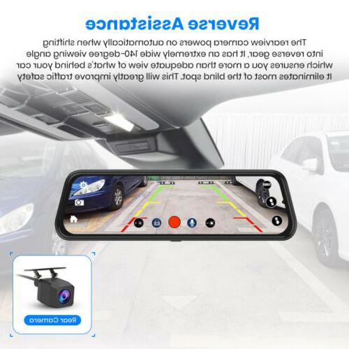 "10"" Junsun FHD Car Dash Cam Dual Lens Backup"