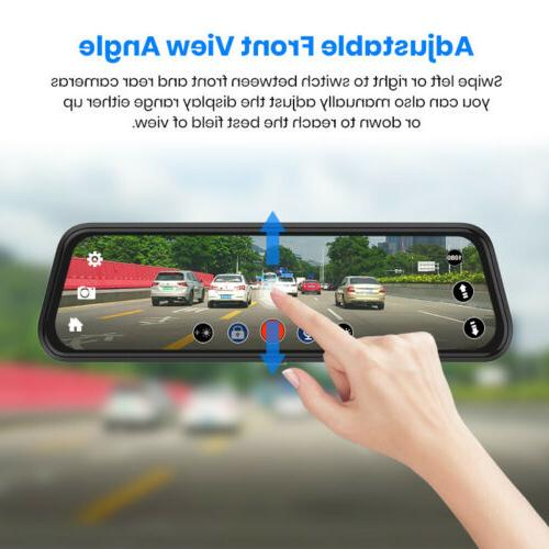 "10"" Junsun Car Rearview Mirror Dash Cam Dual Backup"