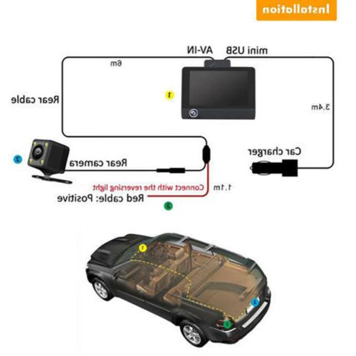 1080P Car Lens Front and Rear Video Recorder Camera G-sensor