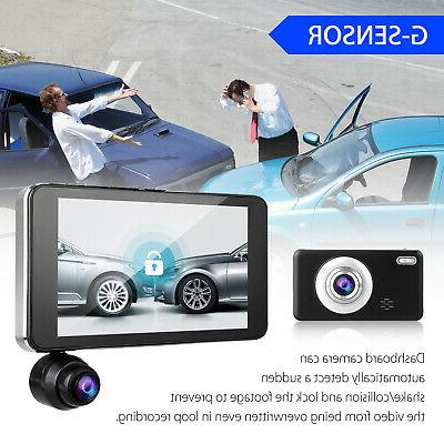 """4"""" Touch 1080P 3 Lens Car Video Recorder + Rearview"""