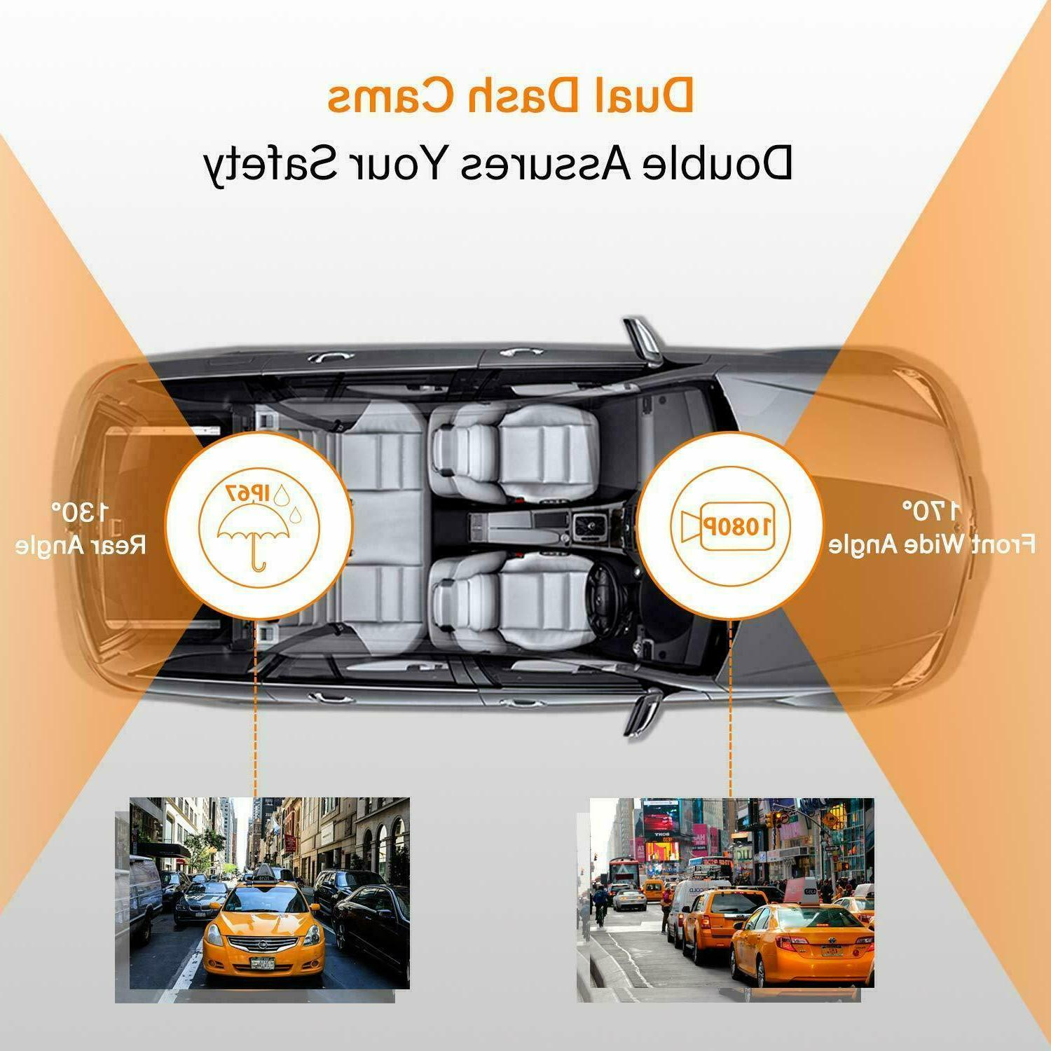 Dash Cam, Dual Camera with Night Vision Parking