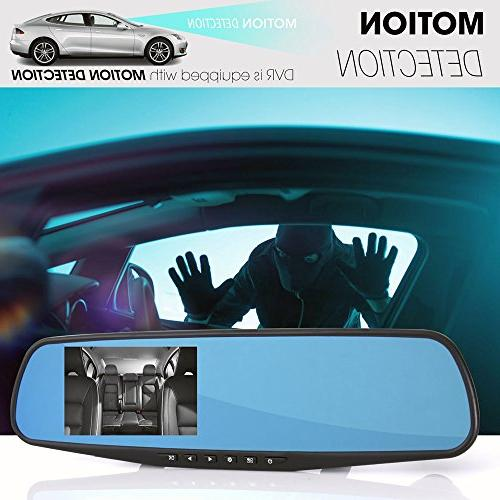 Pyle Dash Cam Mirror - DVR Monitor Rear View Camera in Full 1080p w/Built in G-Sensor Detect Parking Control Loop Record Support PLCMDVR49
