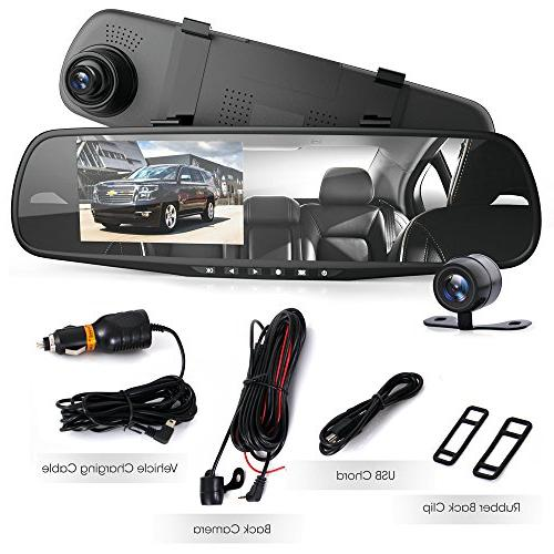 Pyle Cam Rearview Mirror Monitor in Full HD w/Built in Detect Record Support