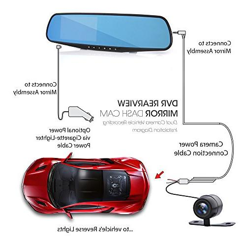 Pyle Cam Rearview Mirror - Monitor Rear View Dual Camera in HD w/Built Detect Record -