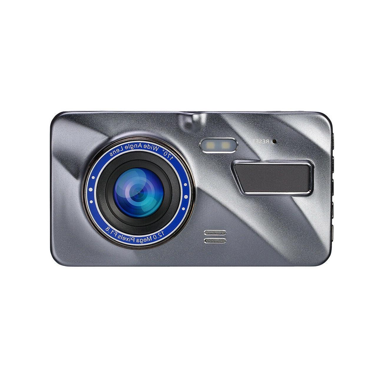"""4""""HD 1080P Lens Touch Screen Dash Cam Recorder+Rear View Camera"""