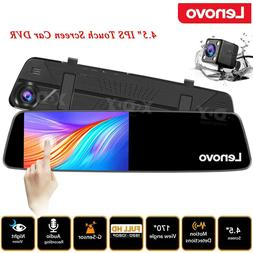 "Lenovo Dual Lens 1080P 4.5"" Car Rearview Mirror Dash Cam Cam"