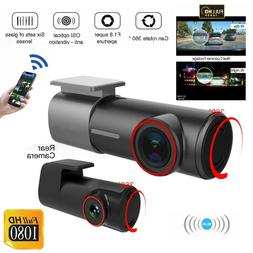 WiFi 1080P Car Camera Dual Dash Cam Rear and Front Night Vis